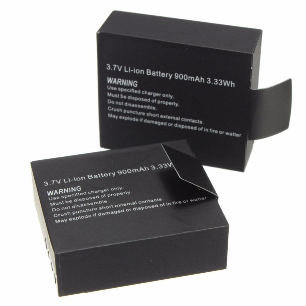 2 unids/set 3,7 V 900mAh batería recargable de iones de litio para SJCAM SJ4000 WiFi SJ5000 WiFi M10 SJ5000x Elite Goldfox cámara de acción deportiva