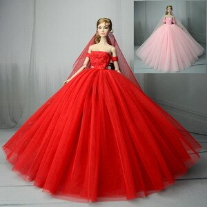 Dress + Veil / Hot Red Pink Blue Evening Dress Gown Bubble skirt Clothing Outfit For 1/6 BJD Xinyi FR ST Barbie Doll Girl gift
