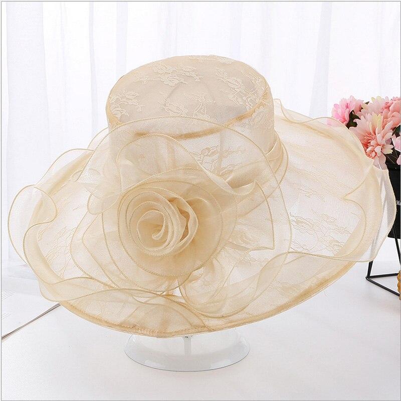 Sombrero de sol ondulado liso 2019 para mujer, Kentucky Derby, sombrero de sol, ala ancha, boda, fiesta de té, iglesia, Organza, sombreros, nuevos gorros de playa para verano