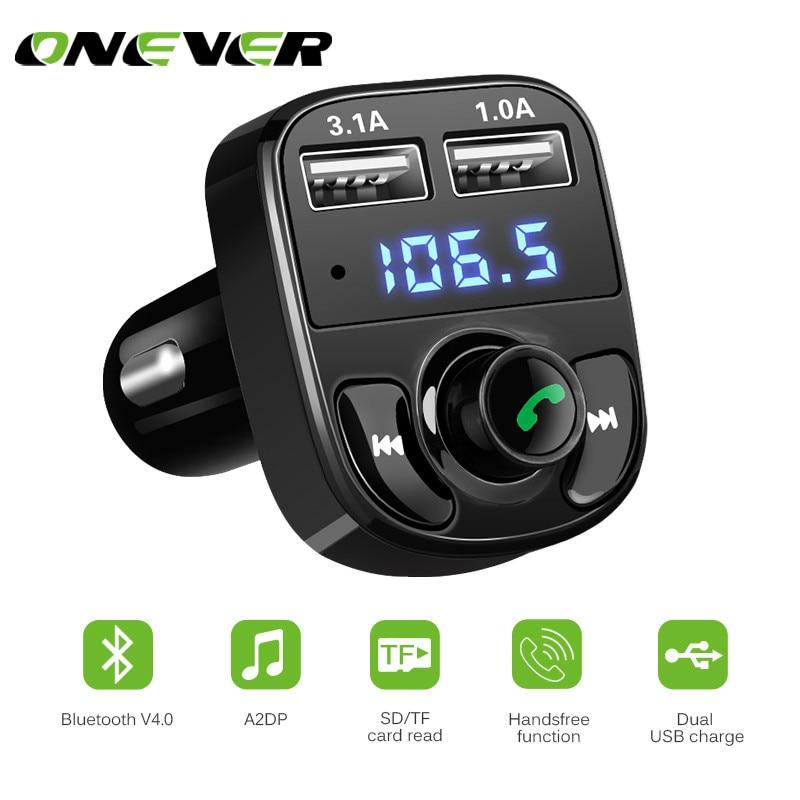 Onever 4.1A Dual USB Multifunción Coche Bluetooth Reproductor de MP3 FM Del Modulador Del Transmisor Inalámbrico de Manos Libres para Coche USB Cargador de Coche