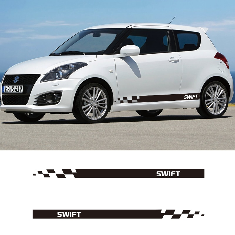 2 PCS Vinyl SWIFT Car Styling Side Stripes Skirt Sticker Vehicle Auto Decals Stripe Wraps Body Graphics For SUZUKI