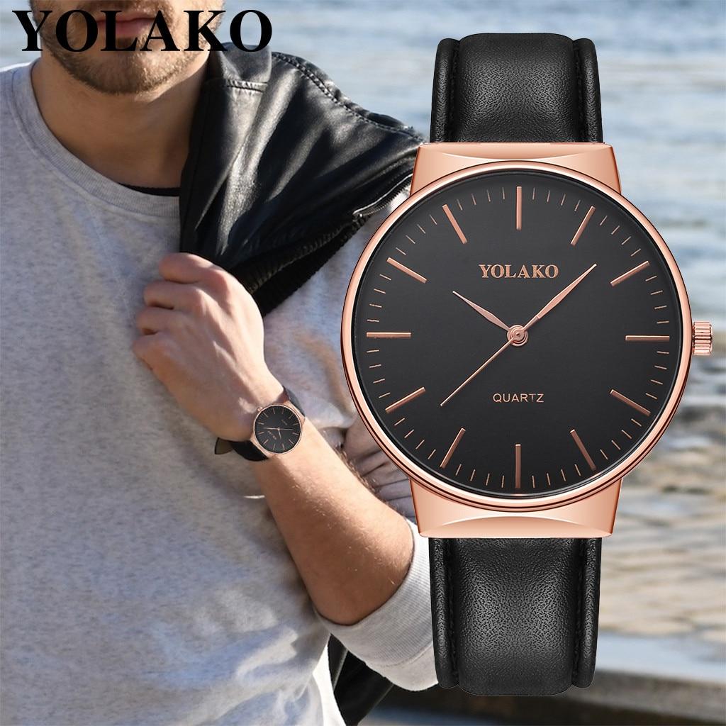 Correa de cuero de cuarzo Casual para hombre reloj de pulsera analógico reloj de pulsera de cuero marrón de acero inoxidable relojes para hombre #10