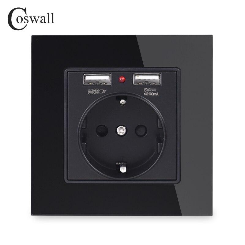 Coswall Хрустальная стеклянная панель с двойным usb-портом для зарядки 2.1A настенное зарядное устройство адаптер со светодиодным индикатором 16A розетка европейского стандарта питания черного цвета