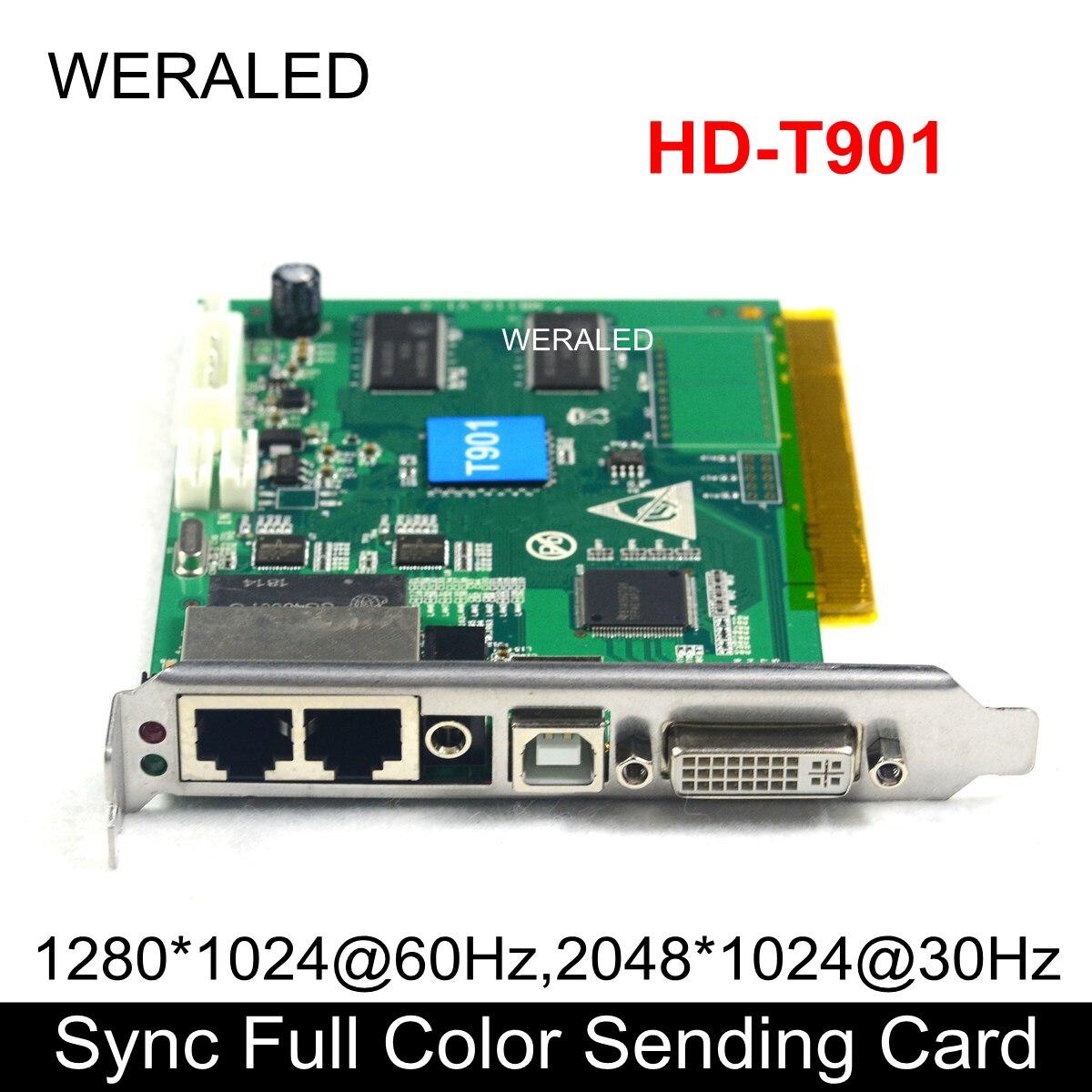 A cor completa síncrona de huidu que envia o cartão HD-T901, rgb conduziu a parede video conduzida do apoio p2.5 p3 p4 p5 p6 p7.62 p8 p10 do controlador de vídeo
