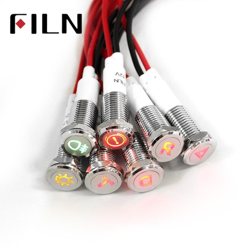 Chrome Waterproof Lamp FILN 12V LED Car Boat LED Warning Dashboard Signal Lights Instrument Pilot light 10mm