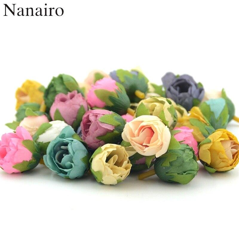 50 stücke Mini Silk Künstliche Tee Rose Blume Kopf Für Hochzeit Party Dekoration DIY Bouquet Zubehör Handgemachte Handwerk Blumen