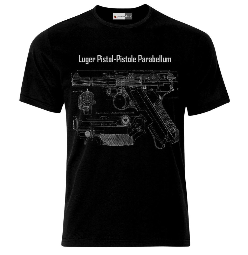 Camiseta de hombre 2018 Luger Pistol Parabellum Blueprint Ejército alemán Wehrmacht Ww2 camiseta camisetas sudaderas con capucha