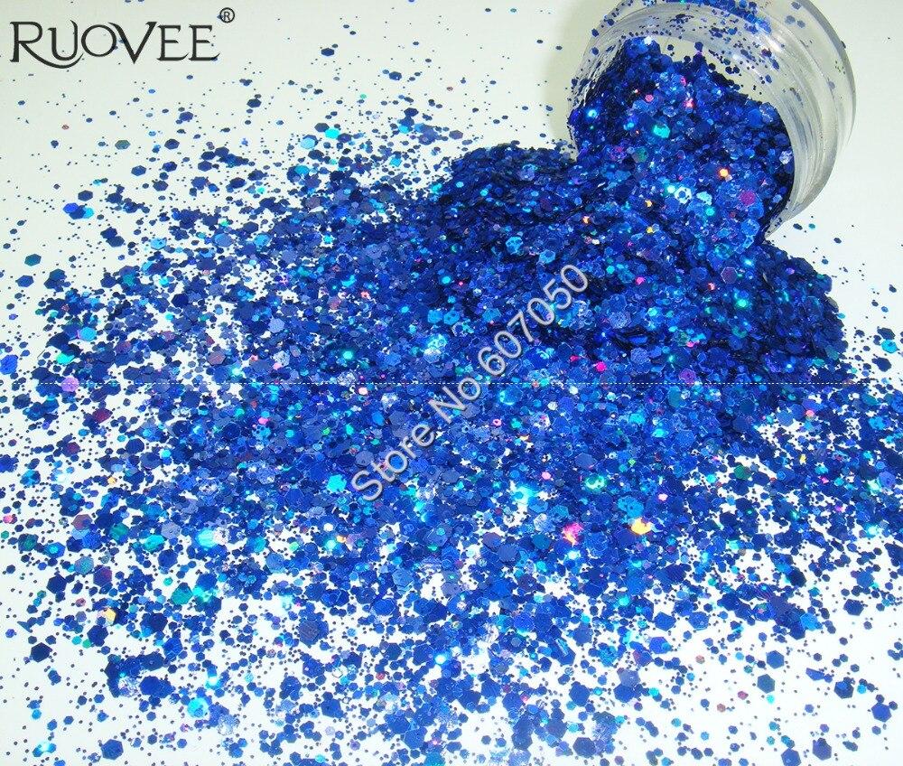 홀로그램 레이저 반짝이 혼합 로얄 블루 컬러 육각 Paillette 스팽글 파우더 모양 네일 아트 반짝이 공예 장식