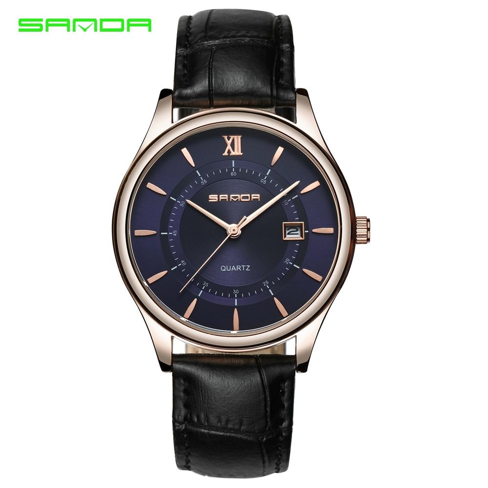 2017 Brand Luxury Men Leather Waterproof Sports Watches Mens Quartz Casual Wrist Watch Male Black Clock SANDA Relogio Masculino