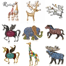 Fashion Horse Elephant Elk Deer Giraffe Brooch Pins for Women Enamel Cartoon Decoration Broach Men's Suit Jewelry Accessories