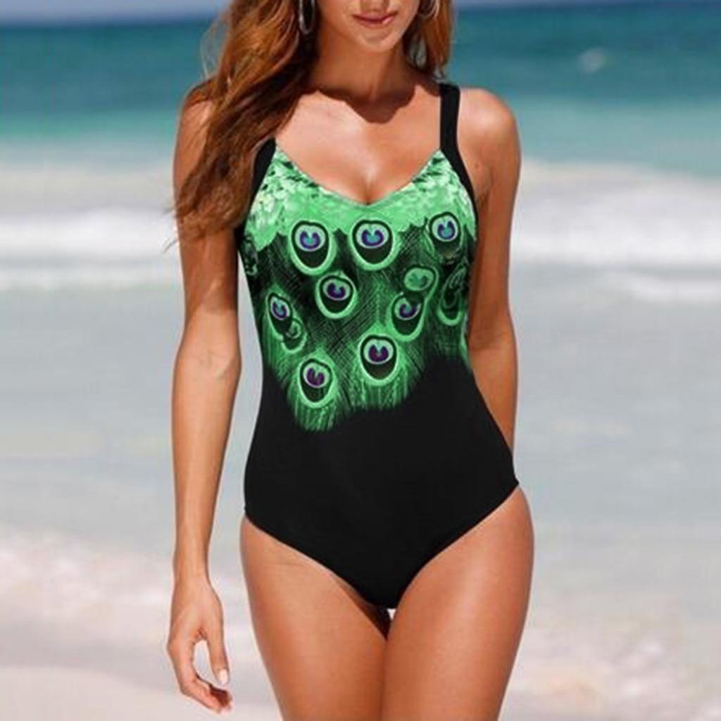 Bañador Sexy de talla grande para mujer, traje de baño con estampado de medias para verano del 2019, traje de baño sin espalda, conjunto de baño