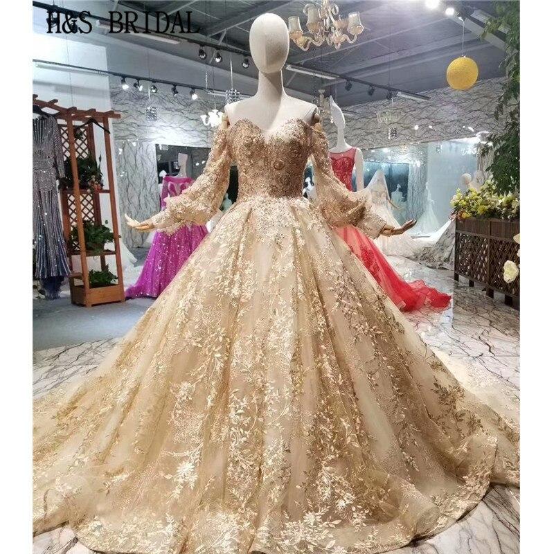 H & S الزفاف خمر الكرة ثوب الزفاف اللباس طويلة الأكمام الدانتيل الشمبانيا الزفاف ثوب أنيقة vestido دي noiva