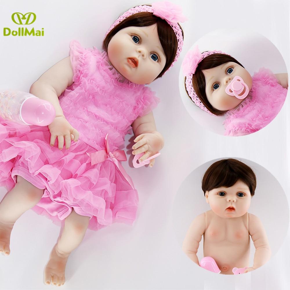 """Niño renacer muñecas del bebé de silicona de vinilo de cuerpo completo muñecas renacer vivo 23 """"57 cm Bebes reborn com corpo a corpo de silicona juguete de regalo de muñeca menina"""