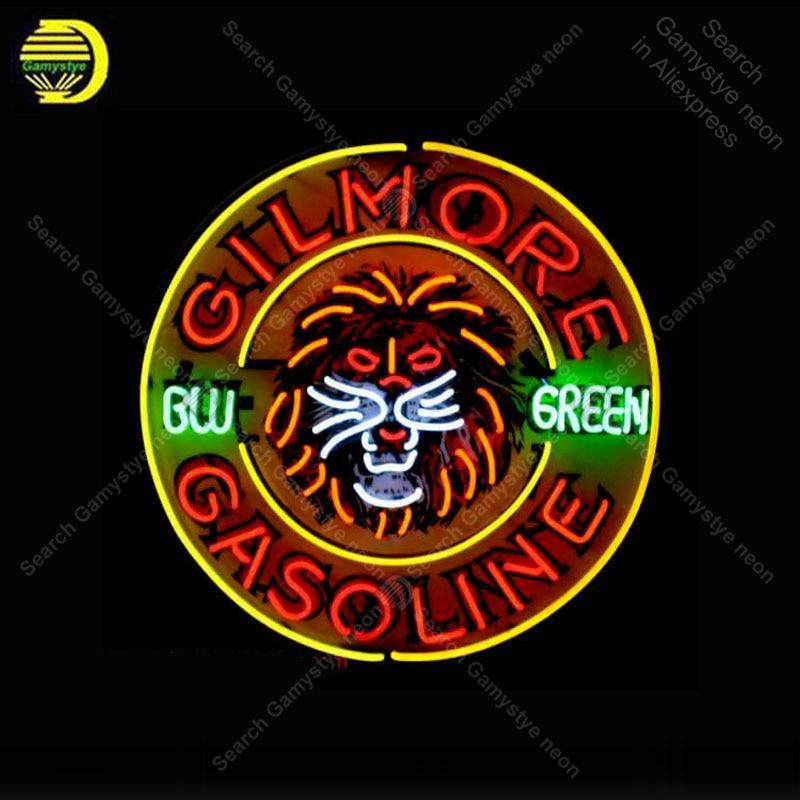 علامة نيون لمصباح البنزين Gilmore ، علامة لمبة شريط البيرة الخضراء ، الحانة ، أنبوب زجاجي ، علامة شريط الغرفة