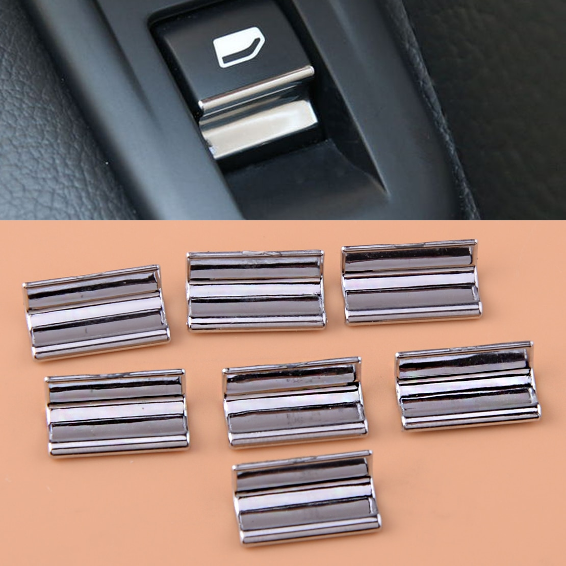 Beler 7 Uds coche cromo ABS cubierta de ventana de puerta de ascensor embellecedor de interruptor de botón Ajuste para Peugeot 308, 3008, 2014, 2015, 2016, 2017, 2018, 2018