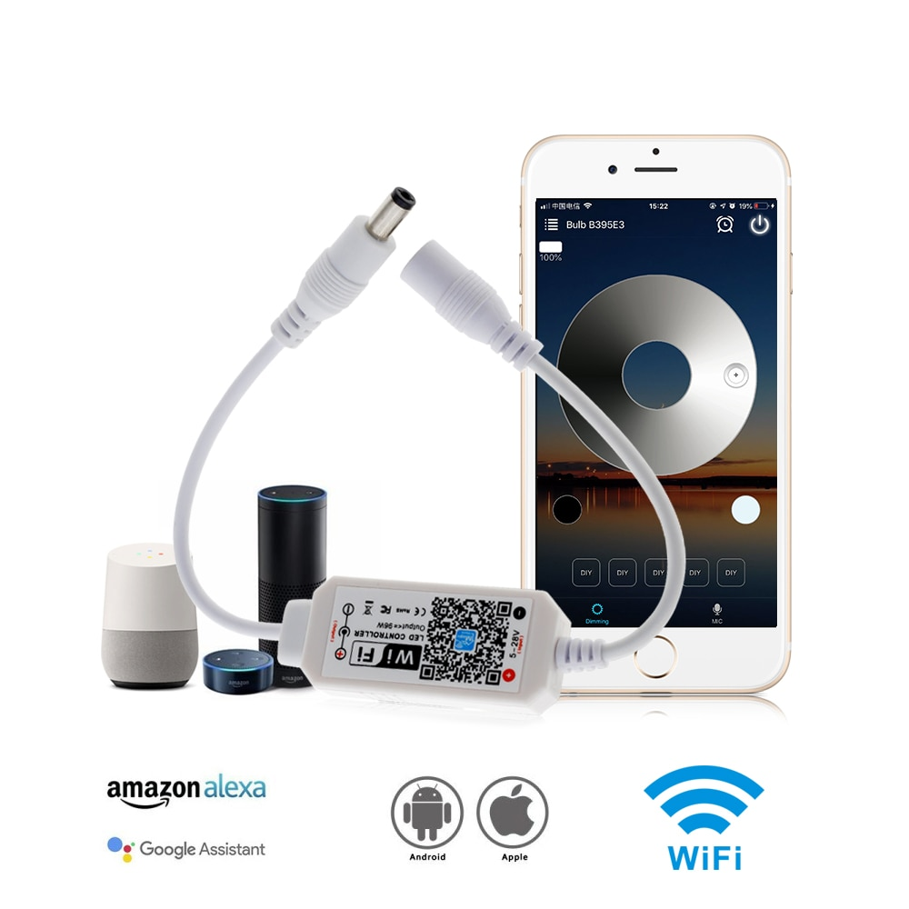 Magic Home Wifi Sigle Color LED Controller DC 5-28V For DC12V 24V Sigle Color LED Strip Light.