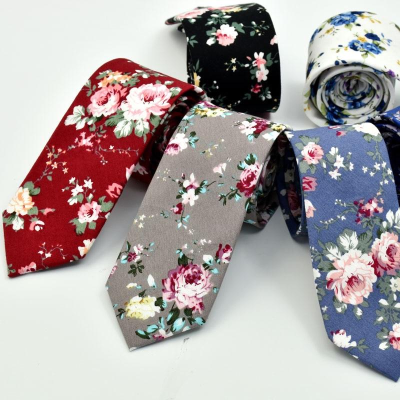 6cm Vintage Floral Cotton Ties for Men Wedding Black Tie Slim Gravatas Corbatas Fashion Casual Printed Tie Necktie недорого
