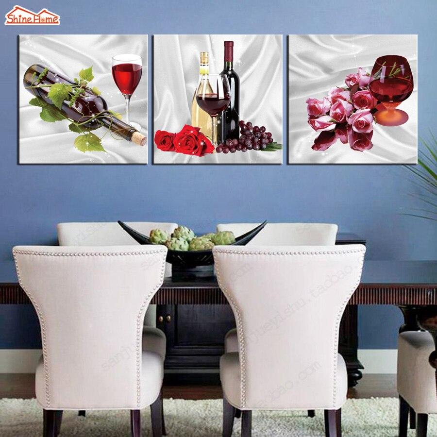 ShineHome-3pcs arte en lienzo pinturas tríptico Modular Red Winne imágenes de tazas Hotel restaurante comedor sala de estar Deco