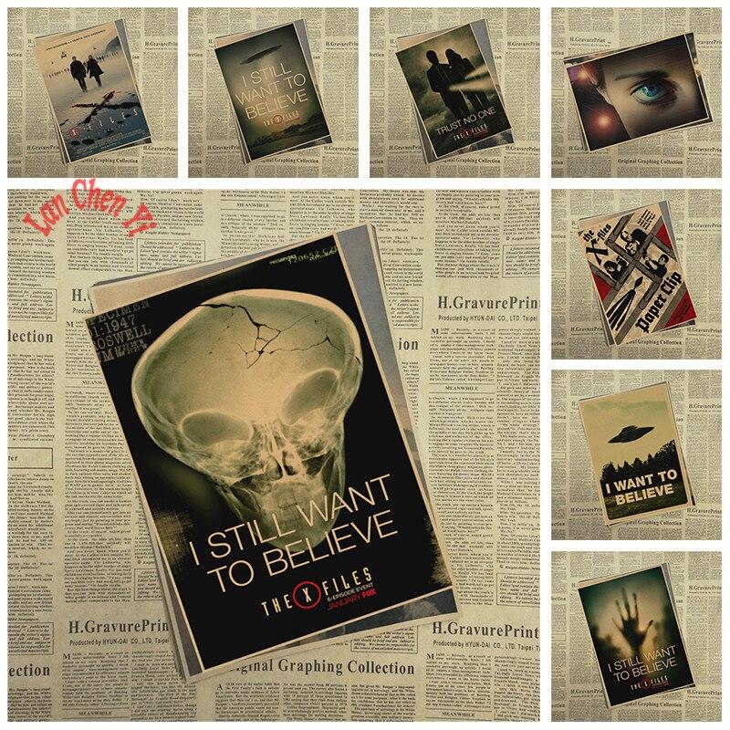 X archivo alien UFO mate papel Kraft Poster Oficina regalo habitación comedor hogar Decoración de pared pegatina diseño