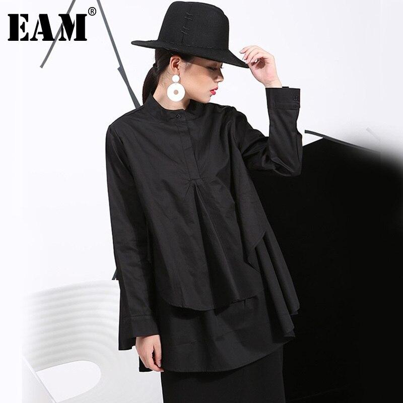 [EAM] 2019 primavera talla grande camisas largas blusas de mujer de manga larga blanco suelto Tops negro blanco algodón camisa talla grande C006111
