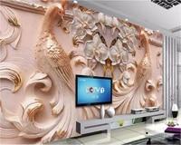 beibehang custom wallpaper 3d large murals peacock relief background wall butterfly floral papel de parede murder 3d wallpaper