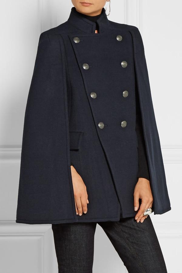 UK 2020 осень/зима новейший дизайн для подиума женское Шерстяное пончо большого размера темно-синее пальто накидка манто femme abrigos mujer