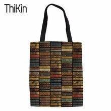 Bolsa de compras para mujer THIKIN de lona con protección del medio ambiente, Impresión de biblioteca, bolsos de moda para mujer, bolso de mano, bolsos de hombro para libros