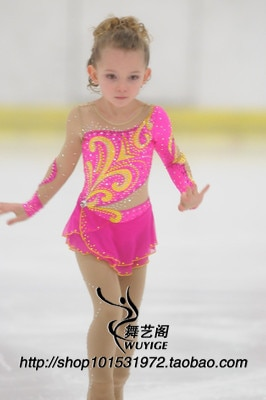 girl ice skating dress pink figure skating dress free shipping custom skating dresses for competition high elastic