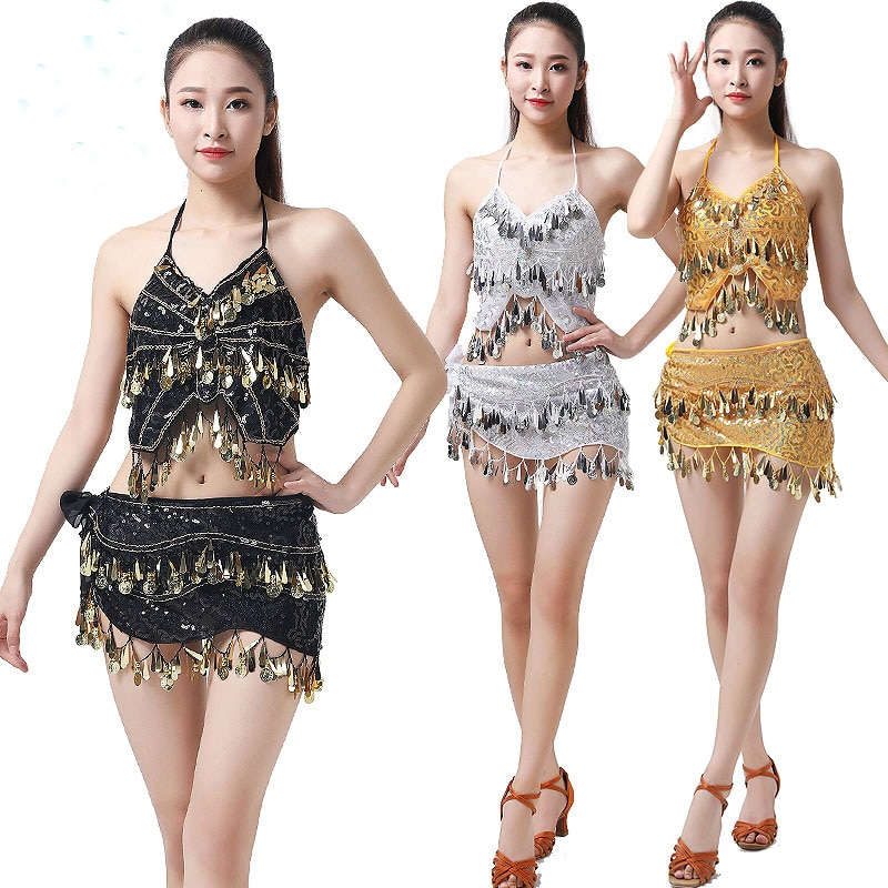 2pcs Belly Dancing Costume Sequins Coins Belly Club Wear Outfits Stage Dance Show Performance Carniv