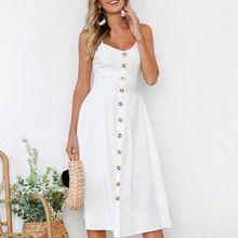 Sexy V Neck  Decoration Strap Spaghetti  Party Summer Beach Button Dresses Dress Midi Backless Women