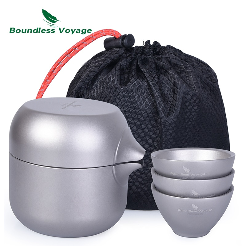 Boundless Voyage Double Layer Titanium Tea Kettle Pot with 3 Titanium Cups Tea Strainer Teapot Set for Outdoor Indoor Camp