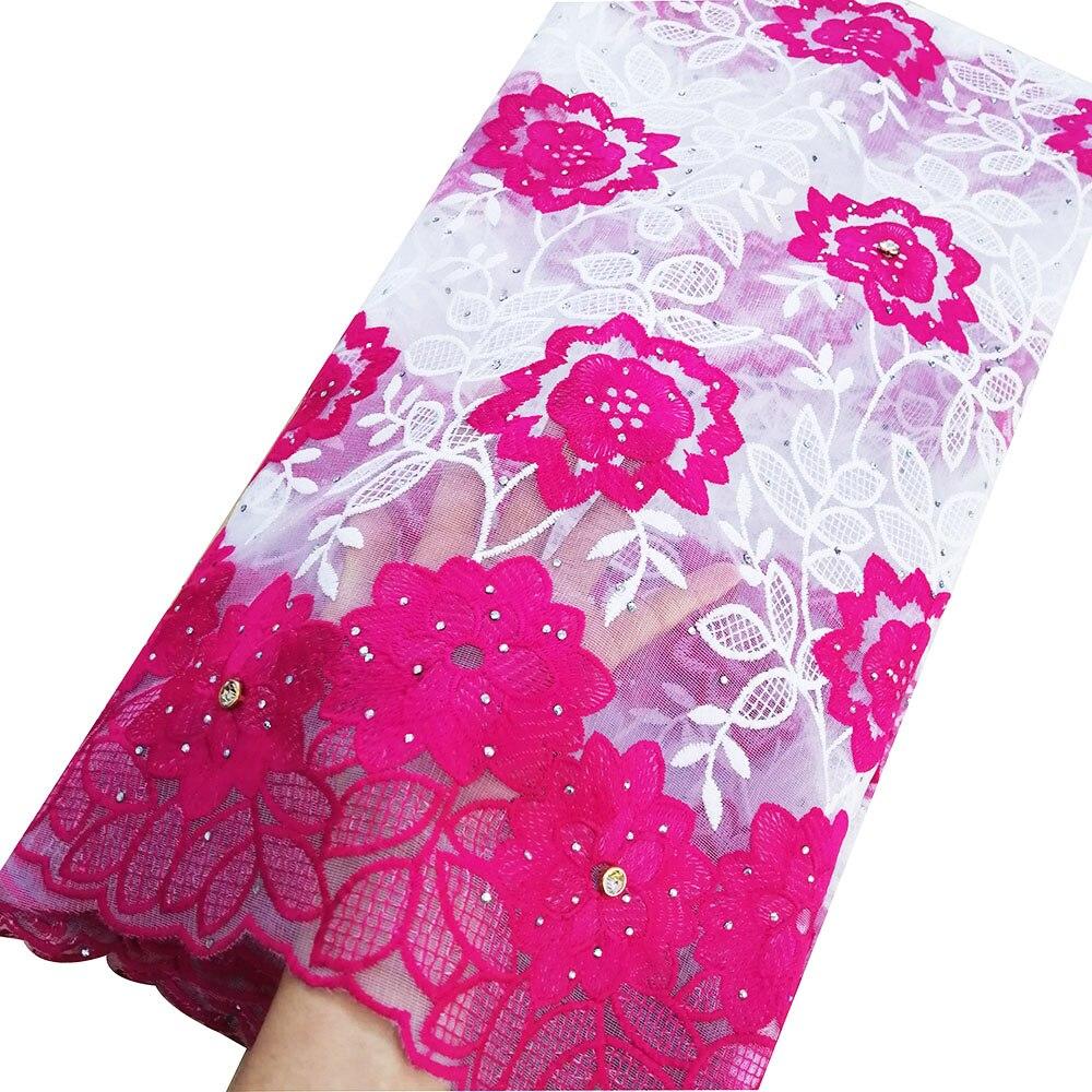 Tela de boda estilo Aso ebi para vestidos de boda nigeriana tela de encaje francés 5 yardas rosa tela de encaje africano