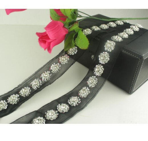 2 Yard Black Lace Flower Pearl Sequins Crystal Beaded Trim Ribbon Sewing Wedding