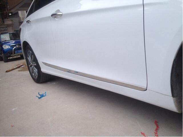 Para hyundai sonata yf 2011-2014 aço inoxidável 4 pces porta lateral do carro decoração guarnição, tira de proteção com logotipo