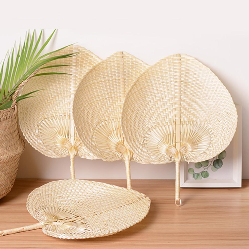 Pushan Arts, abanico hecho a mano, abanico de bambú en forma de melocotón, ventilador de aire fresco de verano, característica DIY