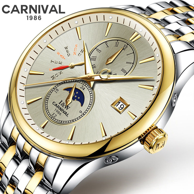 New CARNIVAL Sapphire Crystal Men's Mechanical Watches Automatic Mens Top Brand Luxury watch men WristWatch Military Relogio