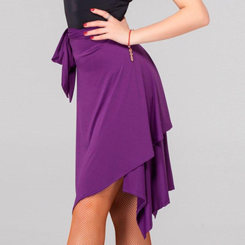 Mujer negro/rojo/púrpura falda Latina Salsa Tango Rumba Cha falda de baile de salón