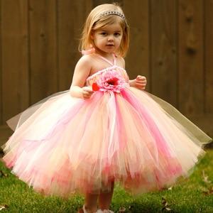 Lovely Girls Flower Tutu Dress Kids Fluffy Tulle Strap Dress Ball Gown with Ribbon Bow Children Wedding Party Tutu Custom Dress