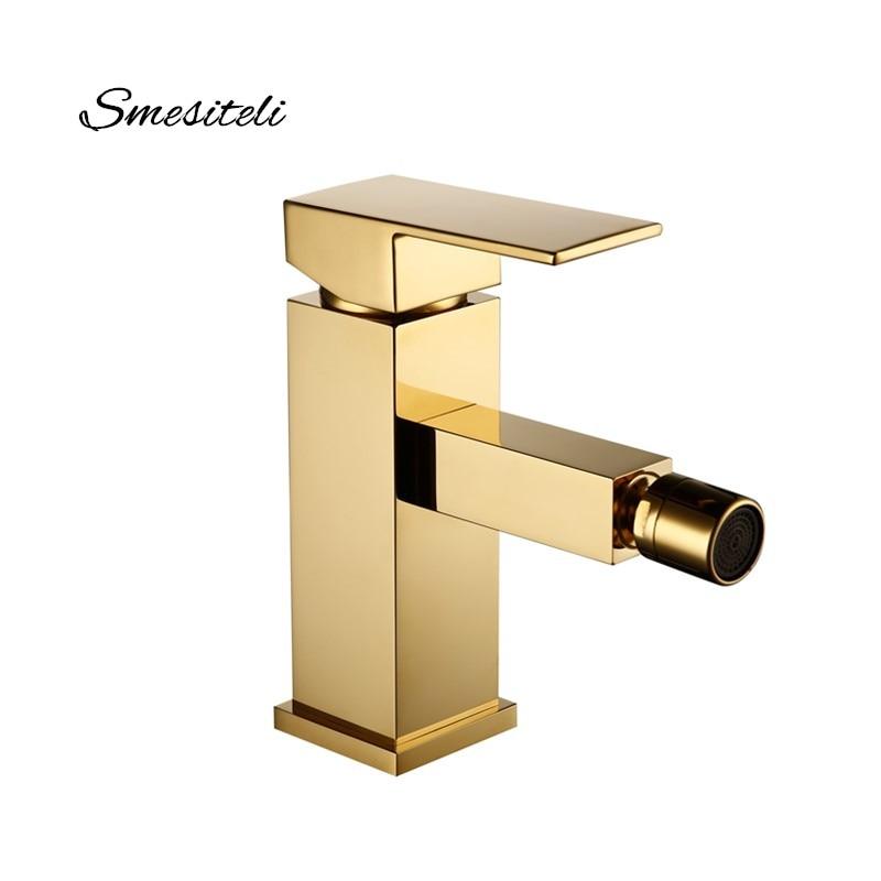 Smesiteli-صنبور حمام نحاسي صلب ، نمط مربع ، لمسة نهائية ذهبية مصقولة ، بيديت ، ذراع واحد ، صنبور مياه ، تركيب بيديت