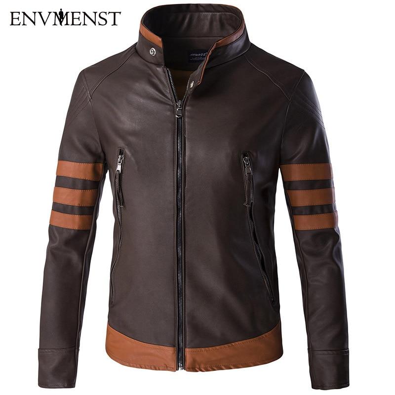 Envmenst Men Leather Jacket Patchwork Biker Cardigans Masculino Autumn Slim Coat X-Men Logan wolf Big Size 5XL