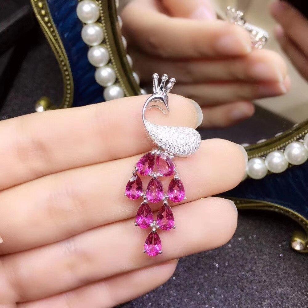 Colgante de topacio Rosa Natural S925, colgante de piedras preciosas naturales de plata, colgante elegante de moda para chica de pavo real, joyería de regalo de fiesta para mujer