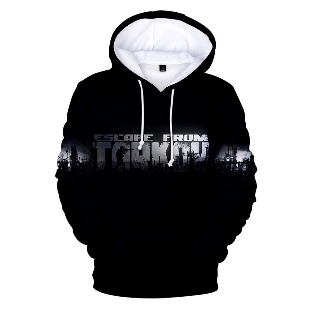 3D Escape from Tarkov Hoodie New Game Harajuku Loose Sweatshirt Escape from Tarkov Print Men/Women Hoodies Black Warm clothes