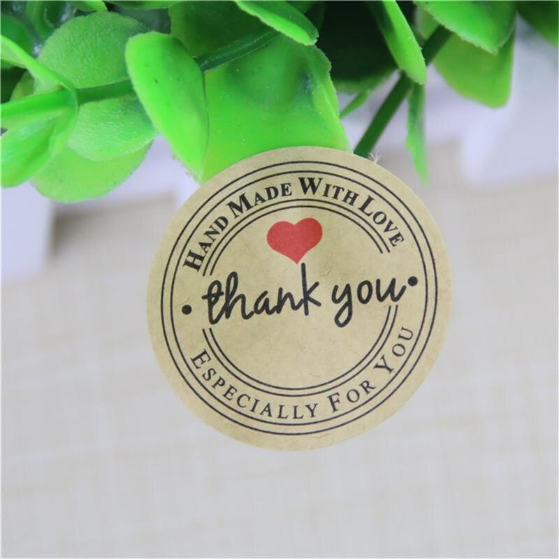 Pegatinas autoadhesivas gracias Red Love, regalos de marca Kraft, etiquetas redondas personalizadas, bolsas de papel, suministros para bodas 120 Uds = 10 hojas