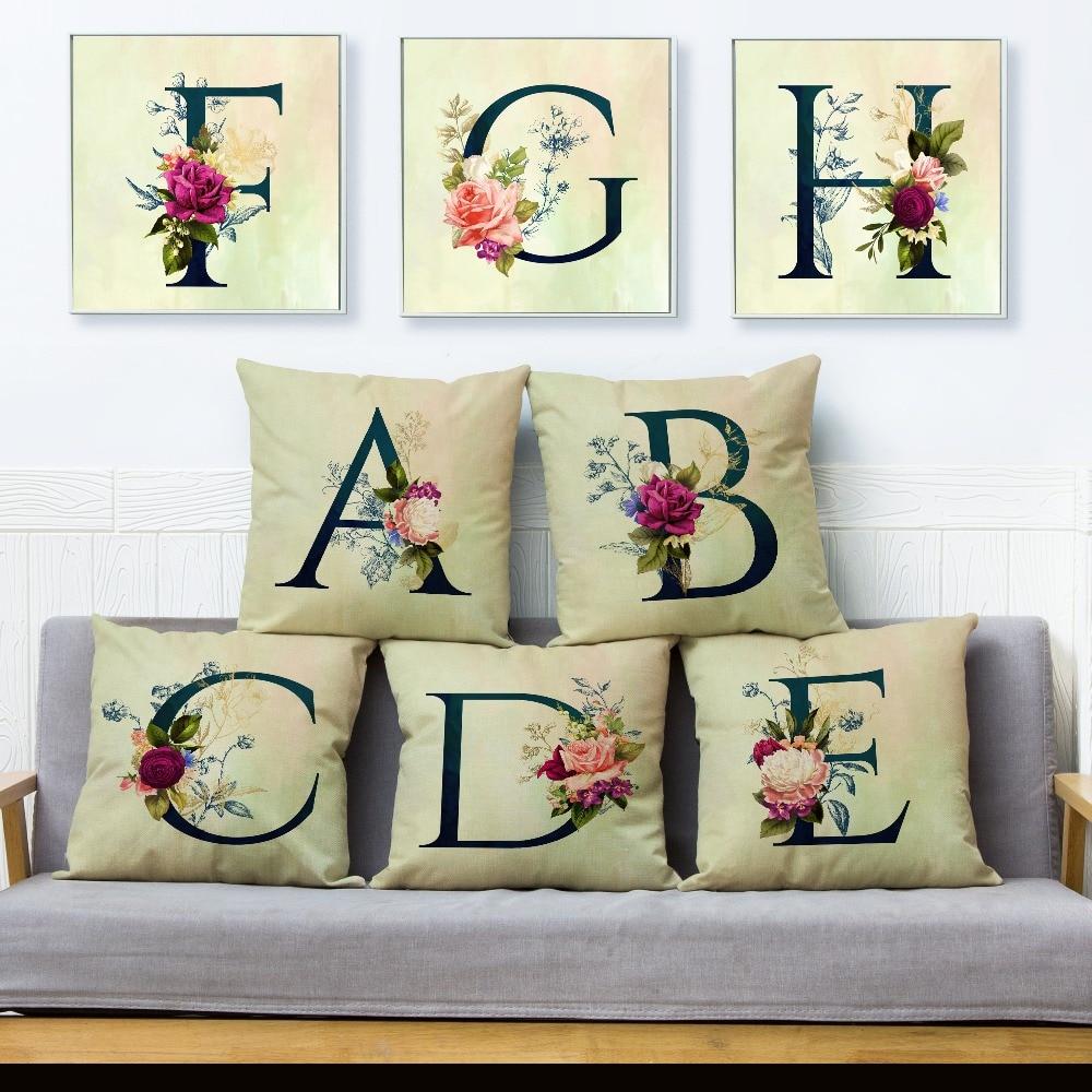 English Flower Letter Print Throw Pillow Cover 45*45cm Cushion Covers Linen Pillow Case Sofa Home Decor Beige Pillows Cases