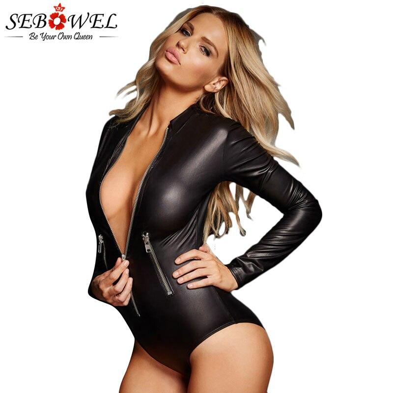 SEBOWEL Black Faux Pu Leather Bodysuit Womens Long Sleeve Zipper Bodycon Bodysuits New Spring Autumn 2020 Female Body Clothes