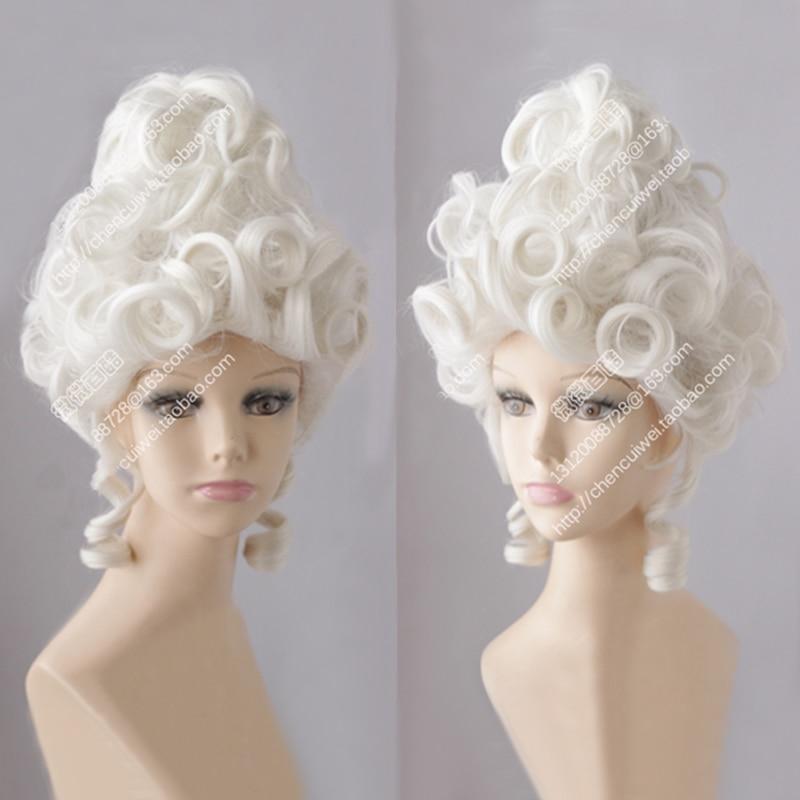 Marie Antoinette Moonlight White Queen Court Masquerade Halloween Costume Hair Wigs + Wig Cap