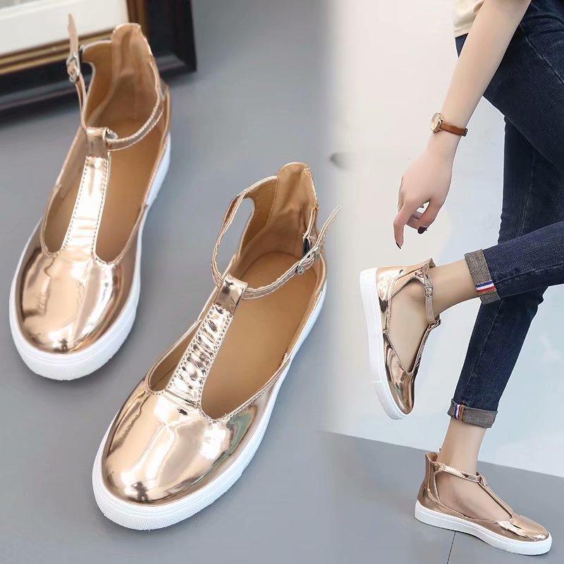 Sandalias de mujer verano oro plata mujer plana cerrada dedo del pie buty damskie T Correa Casual zapatos para mujer, calzado sandalias mujer 2019