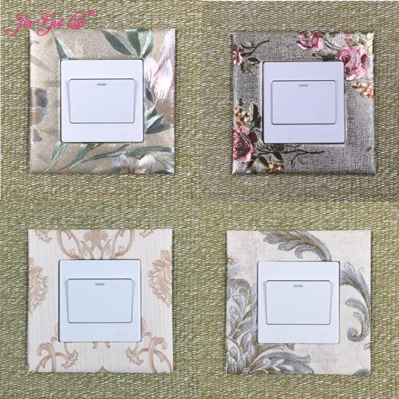 JIA-GUI Luo Schakelpaneel Sticker Decoratieve Schakelaar Cover Behang Bloem Eenvoudige Socket Kamer Decoratie Sticker L013