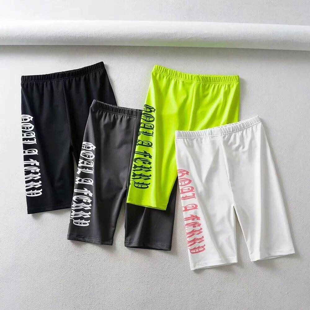 Moda carta neon verde biker shorts das mulheres de cintura alta shorts streetwear punk verão curto feminino estilo coreano