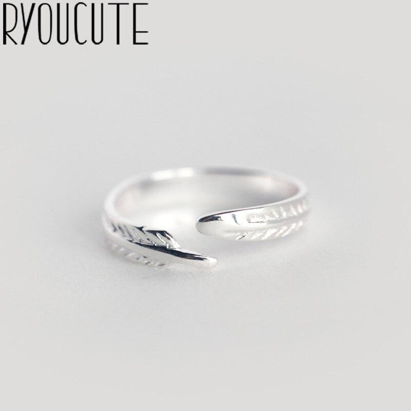 RYOUCUTE 100% réel argent couleur Bijoux mode Simple grande feuille anneaux pour les femmes Bijoux déclaration Antique anneau Anillos
